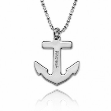 Customized Anchor Necklace With Name Engraving