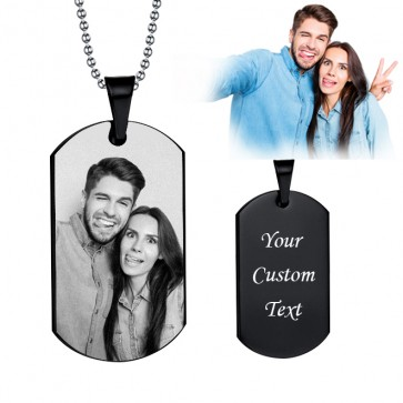 Photo Engraved Dog Tags Necklace In Black Titanium Steel