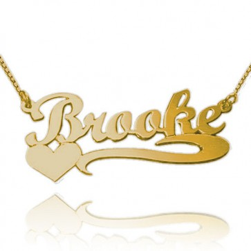 Customized Heart  Name Necklace in Gold Plated