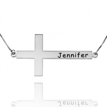 Engraved Horizontal Cross Name Necklace in Sterling Silver