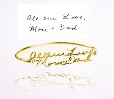 Personalized Handwriting Bangle in Gold Plated