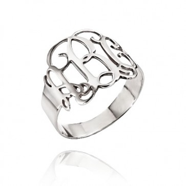 Cut Out Ring with Monogram in Sterling Silver