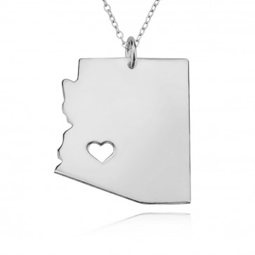 Personalized Arizona State Necklace in Sterling Silver