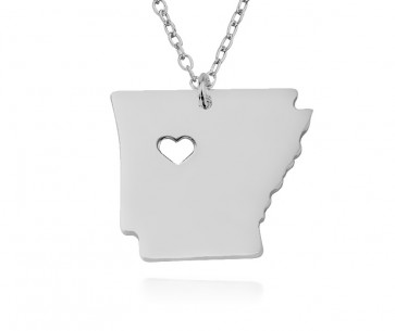 Personalized Arkansas State  USA Map Necklace in Sterling Silver