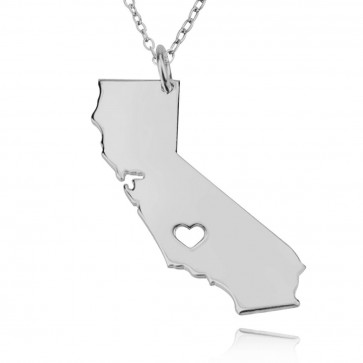 Personalized California State  USA Map Necklace in Sterling Silver