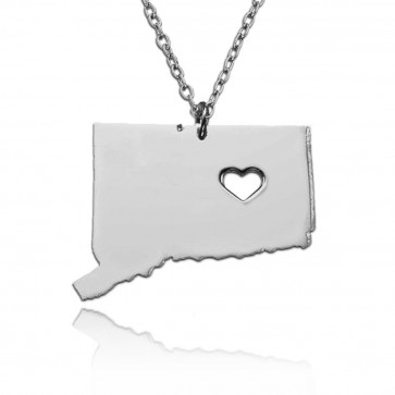 Personalized Connecticut State USA Map Necklace in Sterling Silver