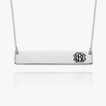 Personalized Monogram Bar Necklace in Sterling Silver