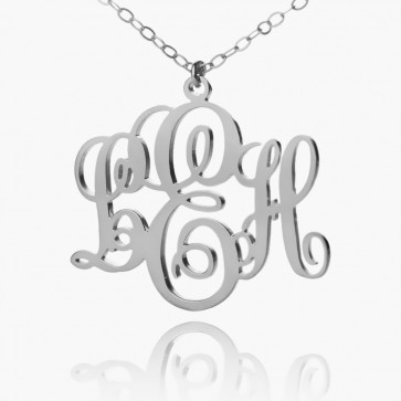 Sterling Silver Personalized Fancy Monogram Necklace