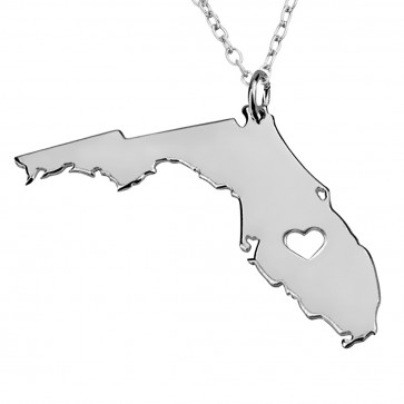 Personalized Florida State USA Map Necklace in Sterling Silver