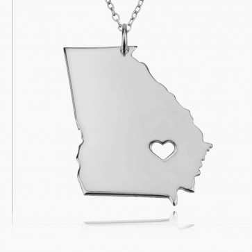 Personalized Georgia State USA Map Necklace in Sterling Silver