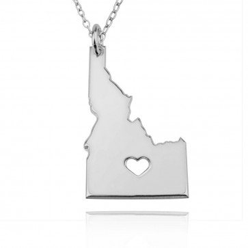 Personalized Idaho State USA Map Necklace With Heart & Name in Sterling Silver