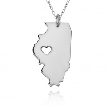 Personalized Illinois State USA Map Necklace With Heart & Name in Sterling Silver