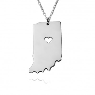 Personalized Indiana State USA Map Necklace With Heart & Name in Sterling Silver