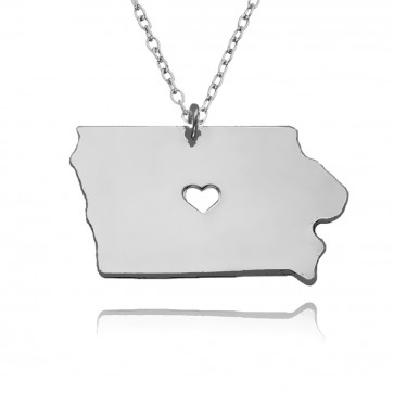 Personalized Iowa State USA Map Necklace With Heart & Name in Sterling Silver