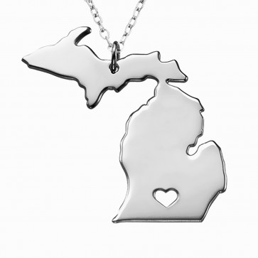 Personalized Michigan State Necklace in Sterling Silver