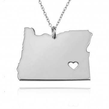 Personalized Oregon State Necklace in Sterling Silver