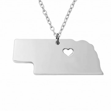 Personalized Nebraska State Necklace in Sterling Silver