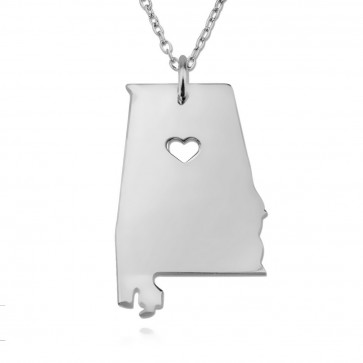 Personalized Alabama State Necklace in Sterling Silver