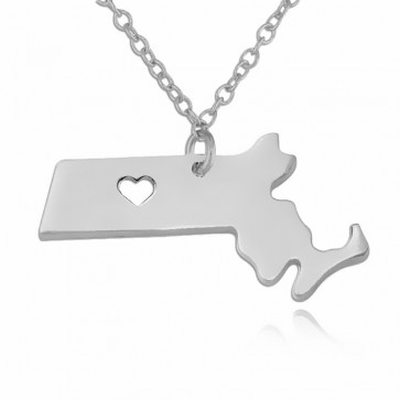 Customized Massachusetts State USA Map Necklace in Sterling Silver