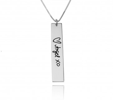 Sterling Silver Vertical Bar Necklace With Signature