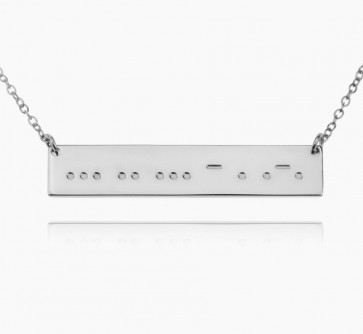 Sterling Silver Morse Code Bar Necklace
