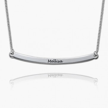 Personalized Engraved Long Bar Necklace In Sterling Silver