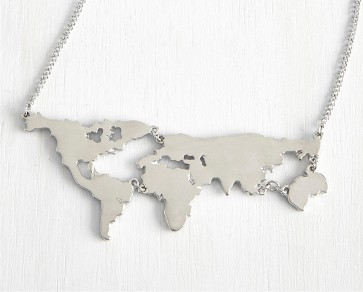 World Map Necklace In Sterling Silver