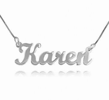 Sterling Silver Script Style Name Necklace