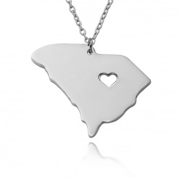 Personalized South Carolina State Necklace in Sterling Silver