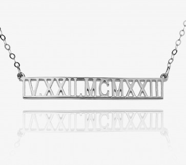 Custom Roman Numeral Bar Necklace In Sterling Silver