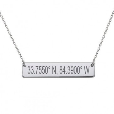 Personalized Coordinate Bar Necklace in Sterling Silver