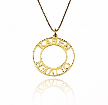 Personalized Circle Name Necklace In Gold Plated
