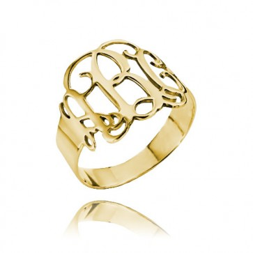 Cut Out Ring with Monogram in Gold