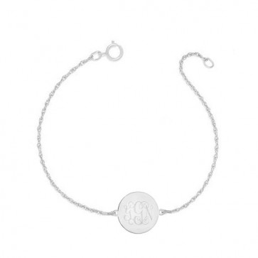 Sterling Silver Bracelet  Engraved Monogram
