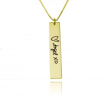 Gold Engraved Signature Vertical Bar Necklace