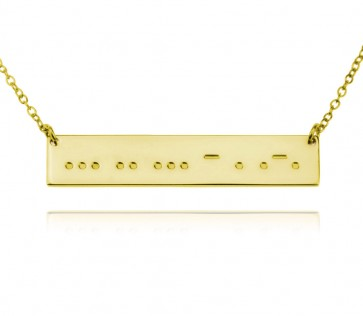 18K Gold Plated Morse Code Bar Necklace With Engraving