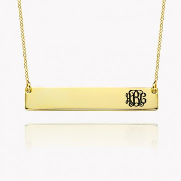 Monogram Engraved Bar Necklace in Gold Plated