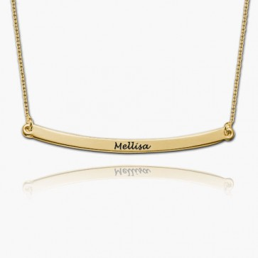 Personalized Long Bar Necklace in Gold