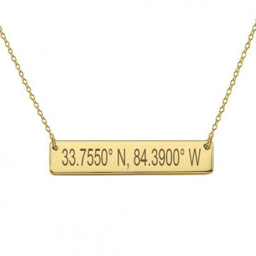 Engraved Coordinate Bar Necklace in Gold Plated