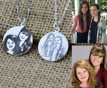 Sterling Silver Circle Engraved Photo Necklace