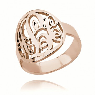 Rose Gold Plated Circle Initials Monogram Ring