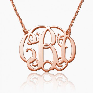Personalized Initials Monogram Necklace in Rose Gold