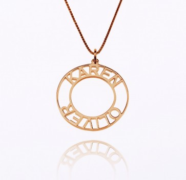 Rose Gold Customized Circle Name Necklace