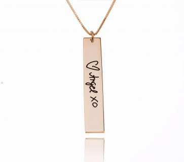 Signature Vertical Bar Necklace in Rose Gold