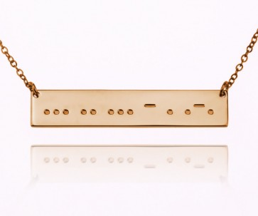 Personalized Morse Code Bar Necklace In Rose Plating