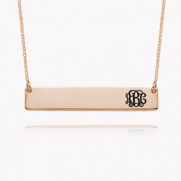 Engraved Bar Necklace With Initials Monogram in Rose Gold