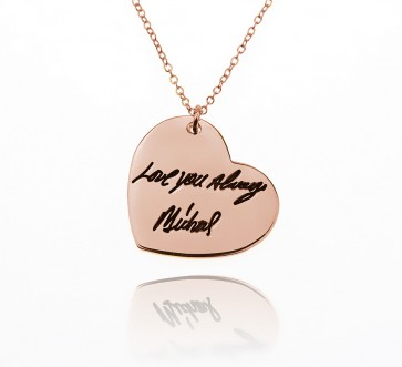 Engraved Heart  Signature Necklace in Rose Gold Plated