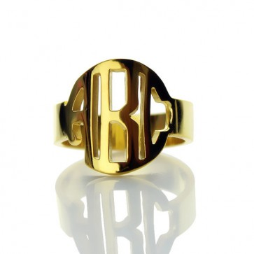 Gold Plated Block Initials Monogram Ring