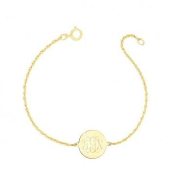 Gold Plated Bracelet  Engraved Monogram