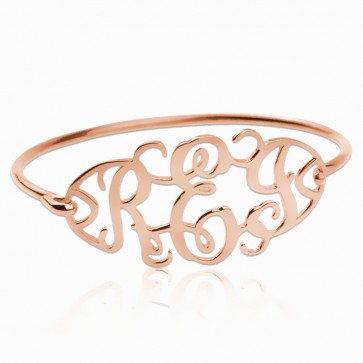 Personalized Cut Out Bangle with Monogram in Rose Gold Plated